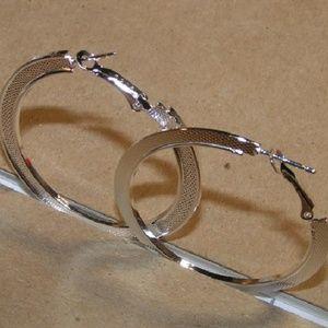 Large Sterling Silver Plated Hoop Earrings